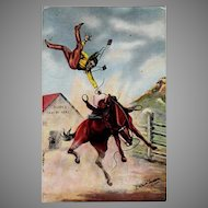 Vintage Postcard with L.H. Dude Larsen Image - Cowboy Thrown from Horse