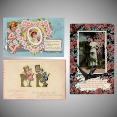 Three Vintage Valentine Postcards – Two from the Early 1900's