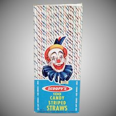 Vintage Candy Striped Scoopy Paper Straws - 1963