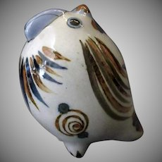 Mexican Pottery – Fat with Blue Bird and Snail Design and Insect Signature