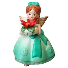 Vintage Ceramic Christmas Angel with Holiday Poinsettia
