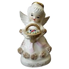 Vintage May Birthday Angel Porcelain Figure with Flower Basket