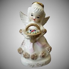 Vintage May Birthday Angel Porcelain Figure with Flower Basket