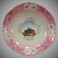 Vintage Souvenir Plate Bowl of Historic Sprague, Washington High School Building