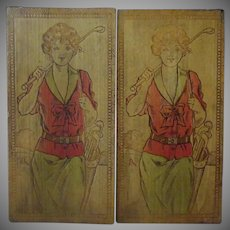 Vintage Pyrography – Painted Wood Burned Stationery/Hankie Box with Golf Girls