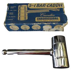 Vintage National Silver Cavalier Chromeware 5 in 1 Bar Caddie