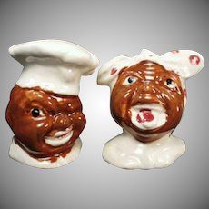 Vintage Black Memorabilia Mammy and Chef Salt and Pepper Set