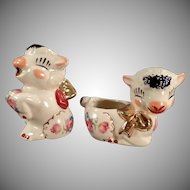 Vintage Shawnee Pottery Lamb Cream & Sugar Set with Decals and Gold Accents