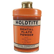 Vintage Holdtite Denture Powder Tin - Old Dental Plate Powder Tin