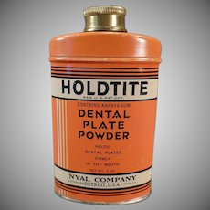 Vintage Holdtite Denture Powder Tin - Old Dental Plate Powder Tin