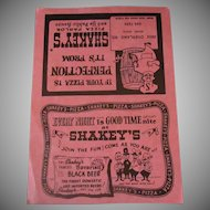 Vintage Shakey's Pizza Parlor Menu when a Giant Special was Only $3.65
