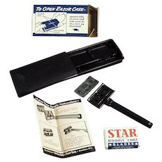 Vintage Shaving Item - Old Star Safety Razor with Original Case and Box