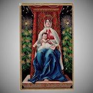Beautiful Vintage Christmas Postcard with Madonna and Child - Vivid Colors