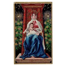 Beautiful Vintage Christmas Postcard with Madonna and Child - Vivid Colors