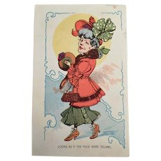 Vintage Postcard with Unattractive and Funny Woman - 1910