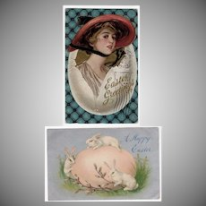 Two Vintage Easter Postcards – Early 1900's
