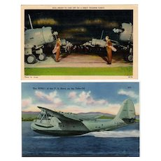 Two Vintage Postcards with Military Airplanes