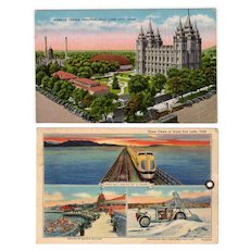Two Vintage Postcards – Views of Salt Lake City including Mormon Temple