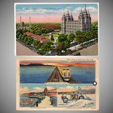 Two Vintage Postcards – Views of Salt Lake City including Mormon Temple