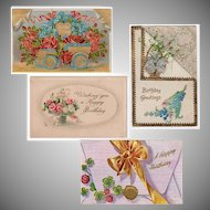 Four Vintage Birthday Postcards with Flowers and Shamrocks