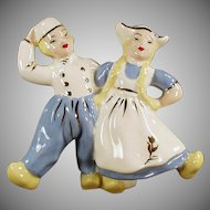 Vintage Dancing Dutch Boy & Girl Planter Vase