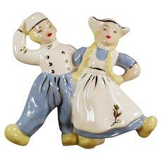 Vintage Dancing Dutch Boy & Girl Planter Vase