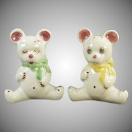 Vintage Salt and Pepper Set - California Pottery Teddy Bear S & P