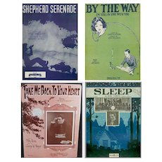 Vintage Sheet Music – Four Different Songs – Some Nice Graphics
