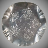 Vintage Hammered Aluminum Serving Tray Dish - Pretty Floral Design