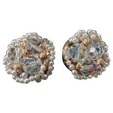 Vintage Earrings – Crystal Aurora Borealis Bead and Faux Seed Pearl Clip-On Earrings