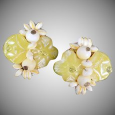 Vintage Costume Jewelry Earrings - Lemon Yellow Flowers and White Bead Clip-Ons