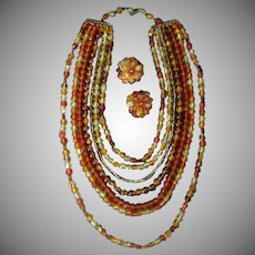 Vintage Costume Jewelry Necklace & Earring Suite - Yellows and Oranges