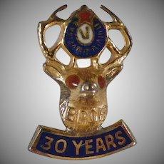Vintage 30 Year BPOE Elk Lapel Stud - Gold on Sterling Silver