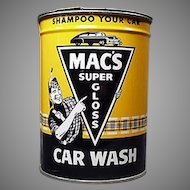 Vintage Automotive Advertising Tin - Mac's Car Wash Tin