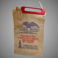 Vintage Eagle Brand Radiator Water Bag with Wood Handle & Original Label