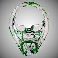 Vintage Green Cased Glass Basket Vase – Mid Century Free Form