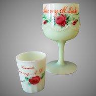 Vintage Custard Glass Toothpick & Goblet - Harvey N.Dakota Souvenirs