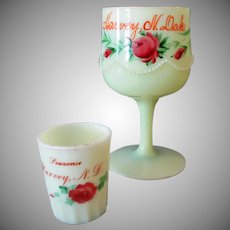Vintage Custard Glass Toothpick & Goblet - Harvey N.Dakota Souvenirs