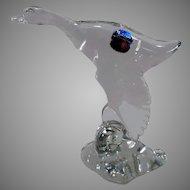 Vintage Heisey Glassware Figurine – Mallard Duck, Wings Down – Original Paper Label