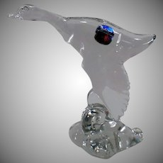 Vintage Heisey Glassware Figurine – Mallard Duck, Wings Down – Original Paper Label