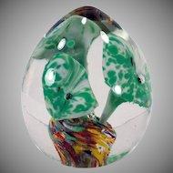 Vintage Glass Egg Paperweight – Encased Green Flowers