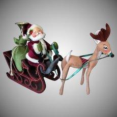 Vintage Annalee Mobilitee Santa Claus Doll and Reindeer – 1986 Christmas Decoration
