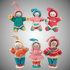 Vintage Miniature Crocheted Dolls - Group of 6