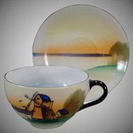 Vintage Teacup and Saucer with Windmill Scene - Made in Japan
