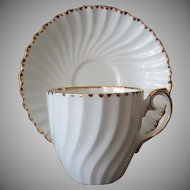 Vintage Gladstone Old Grecian Flute Bone China Cup & Saucer with Gold Trim