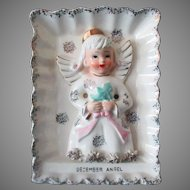 Vintage December Birthday Angel Wall Plaque – Angel with Christmas Tree - Ries