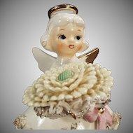 Vintage Lefton Ceramic Birthday Angel - November Girl with Large Flower and Birthstone
