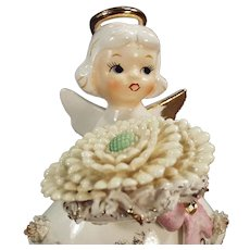 Vintage Lefton Ceramic Birthday Angel - November Girl with Large Flower and Birthstone