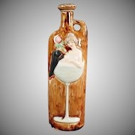Vintage German Whiskey Nip Flask - Girl in a Wine Glass