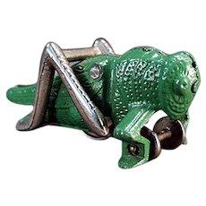 Vintage Hubley Cast Iron Grasshopper Pull Toy - All Original Paint